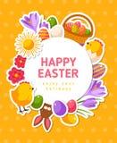 Insegna di Pasqua con le icone e la struttura piane del cerchio Fotografia Stock