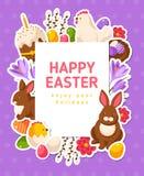 Insegna di Pasqua con le icone piane e la struttura quadrata Fotografia Stock