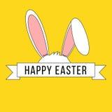 Insegna di Pasqua con le orecchie ed il nastro del coniglietto royalty illustrazione gratis