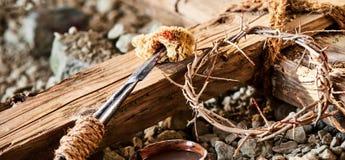 Insegna di Pasqua per la crocifissione di Cristo immagine stock libera da diritti