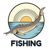 Insegna di pesca dello storione Fotografie Stock Libere da Diritti