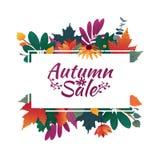 Insegna di progettazione con il logo di vendita di autunno Sconti la carta per la stagione di caduta con la struttura e l'erba bi illustrazione di stock