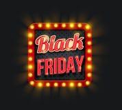 Insegna di promo di vendita di Black Friday con la struttura leggera Fotografia Stock Libera da Diritti