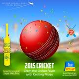 Insegna di promozione e di vendita per la stagione del cricket Immagine Stock