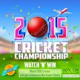 Insegna di promozione e di vendita per la stagione del cricket Fotografia Stock Libera da Diritti