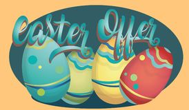 Insegna di pubblicità di offerta di Pasqua con le uova Immagini Stock Libere da Diritti