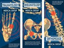Insegna di reumatologia, di ortopedia e di traumatologia illustrazione vettoriale