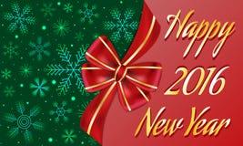 Insegna di saluto del nuovo anno decorata con il grande arco rosso e le bande dorate, fondo verde scuro con i fiocchi di neve Immagine Stock Libera da Diritti