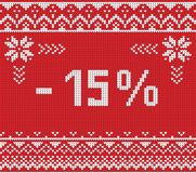 Insegna di sconto di vendita di inverno, modello tricottato del fondo Immagine Stock Libera da Diritti