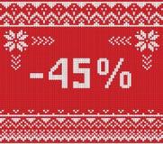 Insegna di sconto di vendita di inverno, modello tricottato del fondo Immagini Stock Libere da Diritti