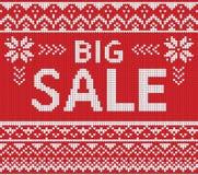 Insegna di sconto di vendita di inverno, modello tricottato del fondo Fotografia Stock
