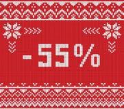 Insegna di sconto di vendita di inverno, modello tricottato del fondo Fotografia Stock Libera da Diritti