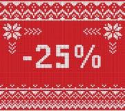 Insegna di sconto di vendita di inverno, modello tricottato del fondo Immagini Stock