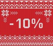 Insegna di sconto di vendita di inverno, modello tricottato del fondo con le feccie Fotografie Stock Libere da Diritti