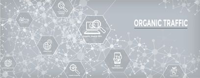 Insegna di SEO Web Header Hero Image e di ricerca con crescita, la ricerca, & l'insieme organici dell'icona di idee di località illustrazione di stock