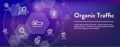 Insegna di SEO Web Header Hero Image e di ricerca con crescita, la ricerca, & l'insieme organici dell'icona di idee di località illustrazione vettoriale