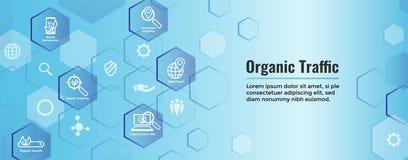 Insegna di SEO Web Header Hero Image e di ricerca con crescita, la ricerca, & l'insieme organici dell'icona di idee di località royalty illustrazione gratis
