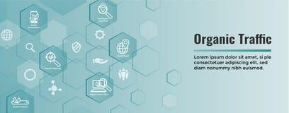 Insegna di SEO Web Header Hero Image e di ricerca con crescita organica royalty illustrazione gratis