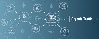 Insegna di SEO Web Header Hero Image e di ricerca con crescita organica illustrazione di stock