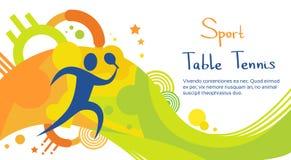 Insegna di Sport Competition Colorful dell'atleta del tennis della Tabella illustrazione vettoriale