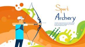 Insegna di Sport Competition Colorful dell'atleta di Archer royalty illustrazione gratis