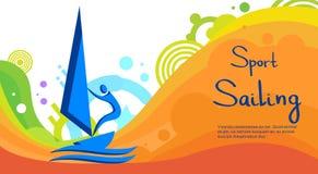 Insegna di Sport Competition Colorful dell'atleta di navigazione illustrazione di stock