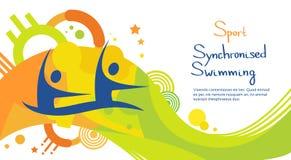 Insegna di Sport Competition Colorful dell'atleta di nuoto sincronizzato illustrazione vettoriale
