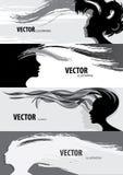 Insegna di stile di capelli della donna illustrazione di stock