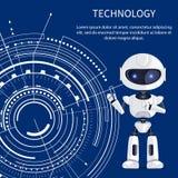 Insegna di tecnologia con il cyborg e l'interfaccia bianca illustrazione di stock