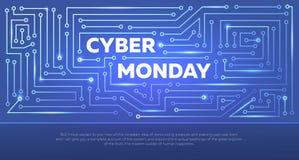 Insegna di tecnologia di vendita per lunedì cyber Aletta di filatoio di vettore Fotografia Stock