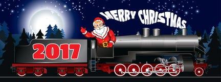 Insegna di un'illustrazione di Santa Claus su una locomotiva a vapore immagini stock libere da diritti