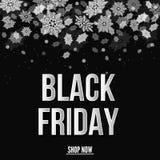 Insegna di vendita di Black Friday con i fiocchi di neve Illustrazione di Stock