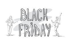Insegna di vendita di Black Friday con il concetto di shopping di festa della siluetta della gente di schizzo Immagine Stock Libera da Diritti