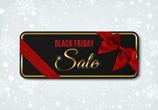 Insegna di vendita di Black Friday con il nastro e l'arco Illustrazione Vettoriale