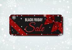 Insegna di vendita di Black Friday con il nastro e l'arco rossi Illustrazione di Stock