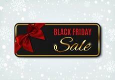Insegna di vendita di Black Friday con il nastro e l'arco rossi Illustrazione Vettoriale