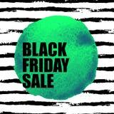 Insegna di vendita di Black Friday con il punto dell'acquerello Fotografia Stock Libera da Diritti