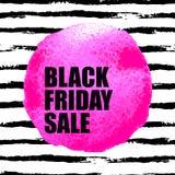 Insegna di vendita di Black Friday con il punto dell'acquerello Fotografie Stock Libere da Diritti