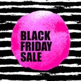 Insegna di vendita di Black Friday con il punto dell'acquerello Immagini Stock
