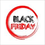 Insegna di vendita di Black Friday con testo rosso e nero sul cerchio di rosso della spazzola Fotografie Stock Libere da Diritti