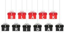 Insegna di vendita di Black Friday, modello con il contenitore di regalo Fotografia Stock