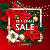 Insegna di vendita di Buon Natale con la ghirlanda d'ardore, contenitore di regalo, oro fotografia stock