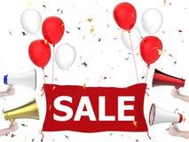 Insegna di vendita con il panno ed i palloni rossi Fotografia Stock