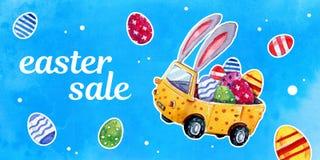 Insegna di vendita con l'automobile di pasqua con le orecchie e le uova del coniglietto su fondo strutturato blu - illustrazione  Immagine Stock