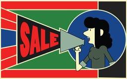 Insegna di vendita con la donna Illustrazione Vettoriale