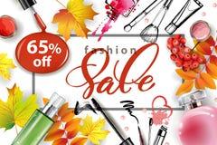 Insegna di vendita con le foglie di autunno, i cosmetici e le bacche di sorbo Vettore Fotografie Stock