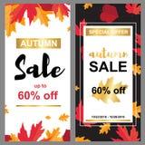 Insegna di vendita con le foglie di autunno illustrazione di stock