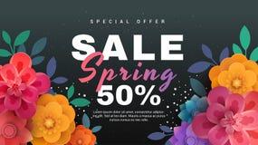 Insegna di vendita della primavera con i fiori di carta su un fondo nero illustrazione di stock