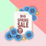 Insegna di vendita della primavera con il fiore variopinto illustrazione vettoriale