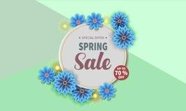 Insegna di vendita della primavera con il fiore variopinto illustrazione di stock